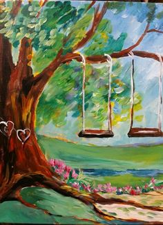 Swings: Part of a partners painting called Lovers Trail Swing Painting, Summer Painting, Diy Painting, Painting & Drawing, Watercolor Paintings, Wine And Canvas, Easy Paintings, Pictures To Paint, Acrylic Art