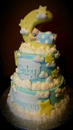 Moon & Stars Baby Shower Cake by Samantha's Sweets