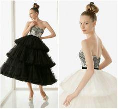 mismo corset, con falda negra y blanca