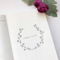 Bullet journal monthly cover page, April cover page, flower wreath, flower drawings. | @augustrose.doodles #bulletjournalmonthly