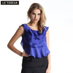 $40.00 2013 spring new brand ladies counters authentic wild round neck vest primer chiffon shirt blouses summer main