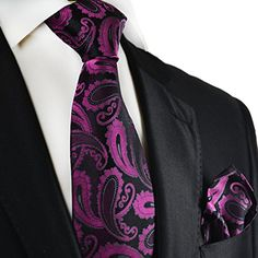 Purple and Black Paul Malone Silk Tie and Pocket Square... All Paul Malone Red Line Neckties feature a self-tipping backside made from all silk. Paul Malone Red Line Silk Ties are Hand Made and Jacquard Woven.