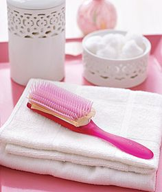 Hosiery as Hairbrush Cleaner - Prevent gunk from settling into your hairbrush by pushing a swatch of stocking fabric over the bristles, so it rests on the base. When the brush needs cleaning, remove the swatch and hair and product buildup will go with it.