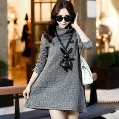3150# Turtleneck Thickening Warm Maternity Dress Style Digital Jacquard Weave Clothes Autumn Winter Clothing for Pregnant Women