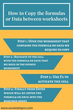 How to Copy the formulas or Data between worksheets