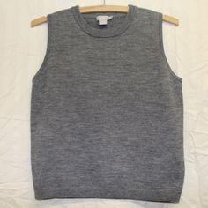 EUC J.Crew 100% Merino Wool Gray Crewneck Sweater Vest Woman's Size Petite Small #JCrew #VestSleeveless