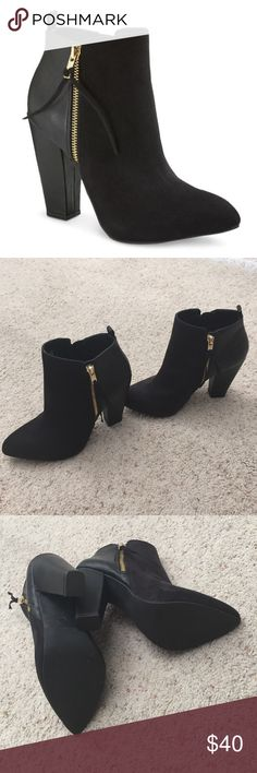Black Ankle Boots Just like new. Only worn once (Indoors). Suede on the front and leather material on the back part of the boot. Shoes Ankle Boots & Booties