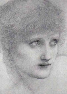 Pre Raphaelite Art: Edward Burne-Jones - Study 'St Mary Magdalen'. c. 1886