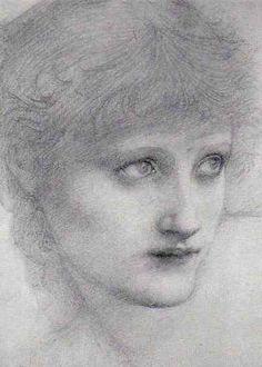 Pre Raphaelite Art: Edward Burne-Jones - Study 'St Mary Magdalen'. c. 1886