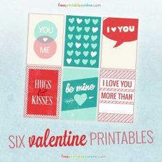Six Free Valentines to Print