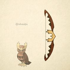 No. 164 - Noctowl. #pokemon #noctowl #bow #pokeapon