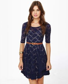 Catch the Bouquet Blue Lace Dress - I love this simple look. Classy & Beautiful!