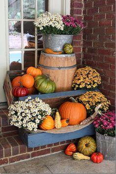 Pumpkins, mums & gourds on a front porch