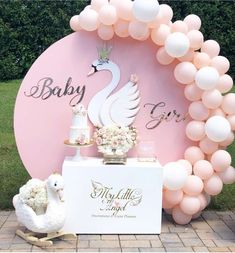 your eyes on this magical Swan Baby Shower! The party decorations are amaz. - - Party Decorations -Feast your eyes on this magical Swan Baby Shower! The party decorations are amaz. Baby Girl Shower Themes, Girl Baby Shower Decorations, Baby Shower Princess, Birthday Decorations, Baby Shower Backdrop, Baby Shower Balloons, Pink Balloons, Shower Party, Baby Shower Parties