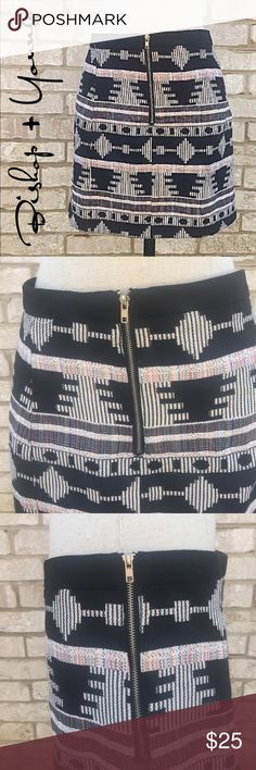 Bishop + young linen lined tribal Aztec skirt Good condition. Anthropologie Skirts Mini