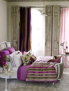 fabulous tall wood shutters, luxurious plum and green fabrics - so pretty  color #palette for my #kitchen