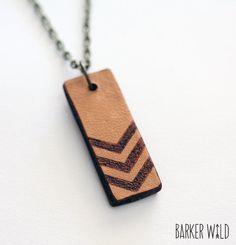 Tribal Leather Arrows Pendant Boho Nature Pyrography hand burned Jewellery arrow print geo pattern necklace