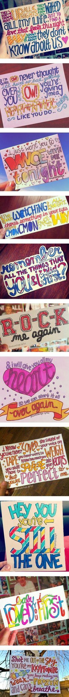 One direction lyrics! I wish I could draw like that! :(