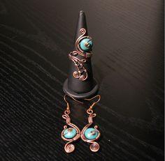 Envuelta de cobre conjunto turquesa joyería por BeyhanAkman en Etsy