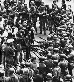 National Guardsmen surround Vietnam protesters at People's Park in Berkeley, California. May 15, 1969