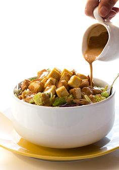 Crispy Baked Tofu Salad with Thai Peanut Salad Dressing