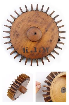 """Antique wooden pattern of a gear by K.I.W"" Material: Wood"