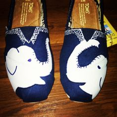 Custom Hand Painted Elephant TOMS by allisonayers on Etsy