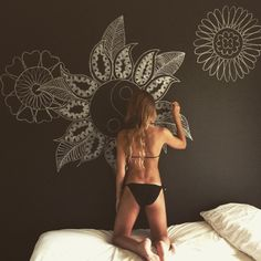 Design - imagining large wall frames with chalkboard paint and these designs on… Mandala Nature, Image Mandala, Bedroom Wall, Bedroom Decor, Bedroom Ideas, Childs Bedroom, Deco Boheme Chic, Chalk Wall, Chalk Board