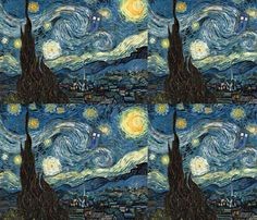 Two of my favorite things -- Starry Night and Doctor Who  fabric by studiofibonacci on Spoonflower - custom fabric