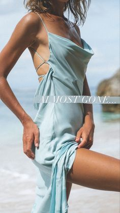 Our best selling maxi dressis almost sold out! It features a Low scoop open back, subtle cowl neckline, perfect for any formal event. Stand out in the gorgeou aqua design. Like the precious aquamarine gemstone, this pop of colour is a valuable treasure. #maxidress #weddingguestoutfit #statementback #winonaaustralia Color Pop, Colour, Aquamarine Gemstone, Oasis, Cowl, Originals, Thighs, Wrap Dress, Color