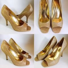 Gorgeous gold glittery Ariel pumps! Gorgeous gold glittery pumps! Perfect for a wedding, formal occasion or fun night out! Sold out online! Heels are just slightly over 4 inches. BCBGeneration Shoes Heels