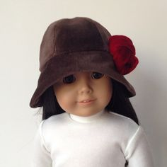 Brown Velveteen Cloche Hat for 18 inch American Girl Doll, by EdenAvaCouture via Etsy