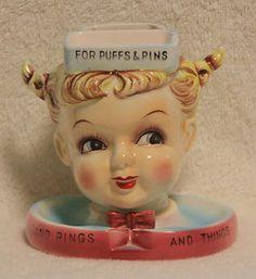 "RARE VINTAGE LEFTON LITTLE GIRL Holder ""For Puffs & Pins"" & ""For Rings…"