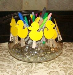 The ducks to decorate and pin to the boy/girl banner. A fun way to guess the gender in a baby gender reveal party. Silver clips keep in color scheme. Baby Gender Reveal Party, Duck Duck, Reveal Parties, Ducks, Baby Showers, Shower Ideas, Color Schemes, Banner, Fun