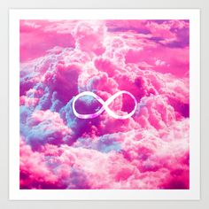Girly Infinity Symbol Bright Pink Clouds Sky Art Print by Girly Trend - $14.00