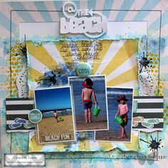 """Louise Turner: --- Scrapbook Boutique DT --- February Challenge reveal """"At the Beach"""" Scrapbook layout + process video"""