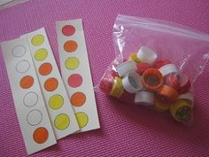 Patterns / sequencing - Make a pattern with bottle top lids and have kids match the lids to the cards