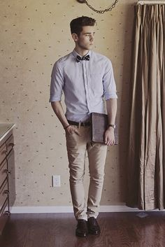 Casual Gentleman; hair, bowtie, watch and laptop case