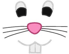 Easter Bunny Face With Teeth Applique Design For Embroidery Machines on Etsy, $3.25