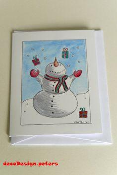 """Weihnachtskarte """"Schneemann I"""" von decodesign.peters auf DaWanda.com"""