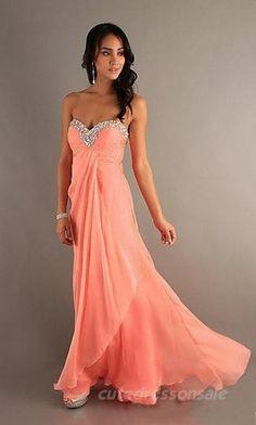 Chiffon Orange Prom Dresses Long Sweetheart Prom Dresses 04667