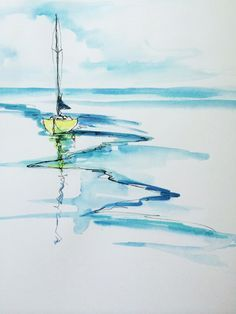 A line-and-wash painting of a sailboat.
