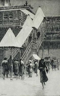 """2014 IFPDA Preview - Snow on the """"El"""" by Martin Lewis"""