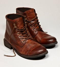 Love the rich color of these... Every man needs a good pair of worked-in boots for those fall winter days.