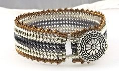 Woven Beaded Herringbone Bracelet Metallic Silver Bronze Hematite Mixed Metal Colors by BeBoDesigns on Etsy