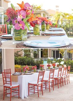 pretty flower arrangements & chiavari chairs