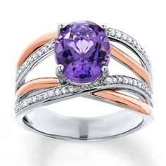 Amethyst Ring 1/8 ct tw Diamonds Sterling Silver/10K Gold