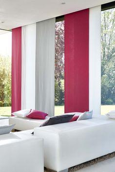 Panneaux japonais Chinette rose - blanc - gris Accent Colors, Color Accents, Style Deco, Blinds, Pergola, Furniture Design, Curtains, Interior Design, Fabrics