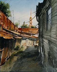 Vjacheslav Kurseev Watercolor Painting Techniques, Watercolor On Wood, Watercolor Pictures, Watercolour Tutorials, Watercolor Paintings, Watercolors, Building Drawing, Building Art, Gouache