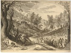 Martius Aprilis - A. Sadeler after P. Bril - Landscape with a wooded valley in which foresters are cutting wood and gardeners planting out plants, on the right a country mansion; above in the sky are two signs of the zodiac; after Bril.  c.1615  Engraving
